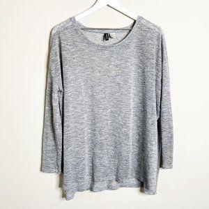 H&M Light Grey Melange Long Sweater Tunic Top